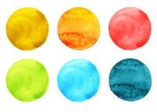 艺术性的设计的水彩例证 圆的污点,蓝色,桃红色,橙色,红色,绿色一滴  库存例证
