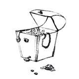画艺术性的铅笔剪影的老海盗宝物箱手 在滑稽的杂文样式的例证 库存照片