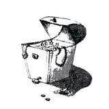 画艺术性的铅笔剪影的老海盗宝物箱手 在滑稽的杂文样式的例证 免版税库存图片