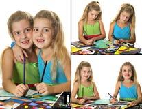艺术拼贴画制作孩子 库存照片
