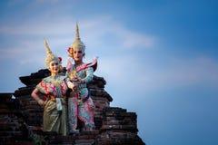 艺术文化在被掩没的khon的泰国跳舞在文学ramaya 库存照片