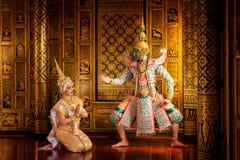 艺术文化在被掩没的khon的泰国跳舞在文学ramaya 免版税库存图片