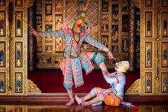 艺术文化在被掩没的khon的泰国跳舞在文学ramayana,泰国古典猴子掩没了,Khon,泰国 库存图片