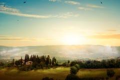 艺术早晨托斯卡纳-风景风景,意大利 免版税库存照片