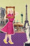 艺术明信片,葡萄酒样式 库存图片