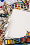 艺术材料-绘画-文本的空间 库存照片