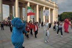 艺术橄榄球节日在莫斯科 伊朗的队 库存照片