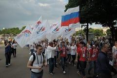 艺术橄榄球节日在莫斯科 俄罗斯的队 图库摄影