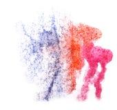 艺术水彩墨水油漆一滴水彩飞溅桃红色,蓝色col 图库摄影