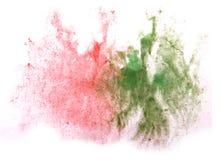 艺术水彩墨水红色油漆的一滴,绿色水彩飞溅col 免版税库存照片