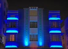 艺术海滩deco旅馆晚上南时间视图 免版税库存照片