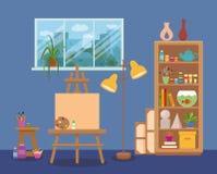 艺术演播室内部五颜六色的传染媒介例证 免版税库存图片