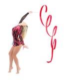 艺术灵活的体操节奏性亭亭玉立的妇女 免版税库存图片