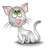 艺术猫夹子注视哀伤的小猫 免版税库存照片
