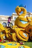 艺术由柠檬和桔子做成在著名柠檬Festival Fete du Citron在芒通,法国 免版税库存照片