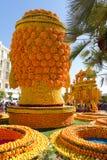 艺术由柠檬和桔子做成在著名柠檬Festival Fete du Citron在芒通,法国 免版税库存图片