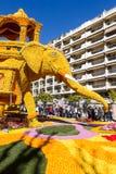 艺术由柠檬和桔子做成在著名柠檬Festival Fete du Citron在芒通,法国 图库摄影
