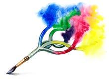 艺术画笔油漆 免版税库存图片