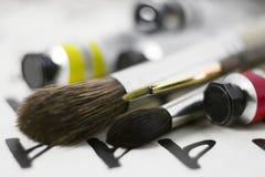 艺术画笔特写镜头 免版税库存照片
