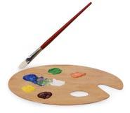 艺术画笔调色板 免版税库存照片