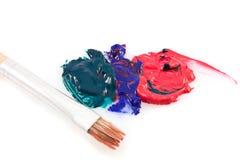 艺术画笔颜色混合油漆学校 库存图片