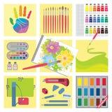 艺术绘水彩的工艺要素 库存图片