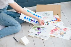 艺术绘画技巧颜色样片水彩图画 免版税库存图片