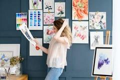艺术绘画技巧颜色样片水彩图画 库存照片