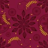 艺术花卉设计在红色背景中 免版税库存照片