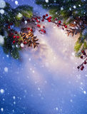 艺术蓝色雪圣诞节背景框架 免版税库存照片