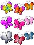 艺术蝴蝶截去五颜六色多种 库存例证