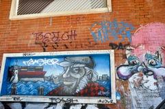 艺术表示:街道画在Fremantle,西澳州 免版税库存图片