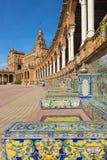 艺术装饰和新Mudejar样式的Anibal设计的塞维利亚- Plaza de西班牙广场冈萨雷斯(20世纪20年代) 图库摄影