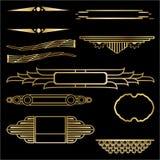 艺术装饰套九个几何标签 向量例证