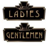 艺术装饰女士们先生们休息室标志 向量例证