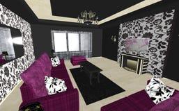 艺术装饰客厅室内设计,简单派 向量例证