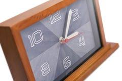 艺术装饰木时钟 免版税库存图片