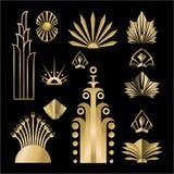 艺术装饰模板金黄黑DIY元素集 向量例证