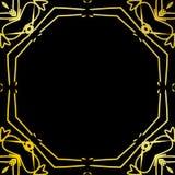 艺术装饰葡萄酒框架或边界 在黑背景隔绝的豪华设计 对商标,标签,标志装饰传染媒介 免版税图库摄影