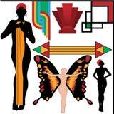 艺术装饰设计要素被设置的人姿势 库存图片
