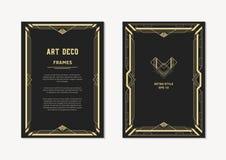 艺术装饰金邀请和卡片的葡萄酒框架 免版税图库摄影