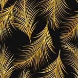 艺术装饰金黄棕榈叶无缝的样式 免版税库存照片