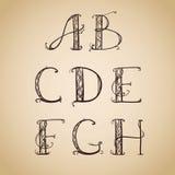 艺术装饰,艺术nouveau,字体,信件 免版税库存照片