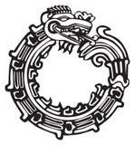 艺术阿兹台克龙极大的玛雅人tatto 免版税库存图片