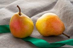 艺术静物画用小红色梨和绿色 图库摄影