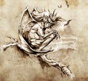 艺术面貌古怪的人妖怪草图纹身花刺 库存例证