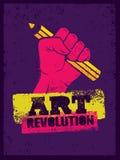 艺术革命创造性的海报概念 举行铅笔钢板蜡纸传染媒介的手 皇族释放例证