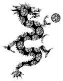 艺术黑色中国夹子龙主题白色 免版税库存照片
