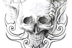 艺术黑色草图头骨纹身花刺 免版税库存照片