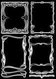 艺术黑色deco空白四个的框架 免版税库存照片